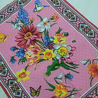 Готовий бавовняний рушник з квітами і етнічним візерунком на рожевому 45х60 см, фото 1