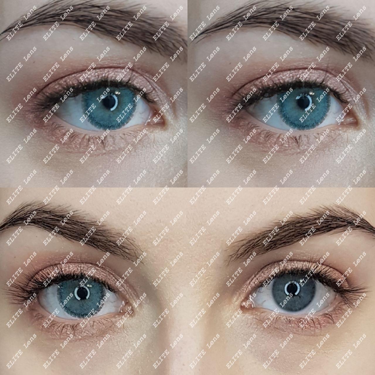 """Серые линзы """"Айс Софт Колд"""" на светлых глазах"""