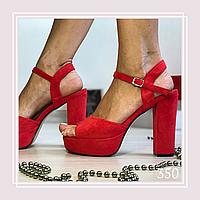 Женские босоножки на высоком каблуке и платформе черная замша, открытая пятка, фото 1