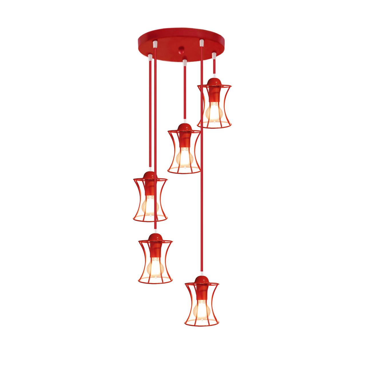"""Подвесной металлический светильник, современный стиль """"SANDBOX-5GR"""" Е27  красный цвет"""