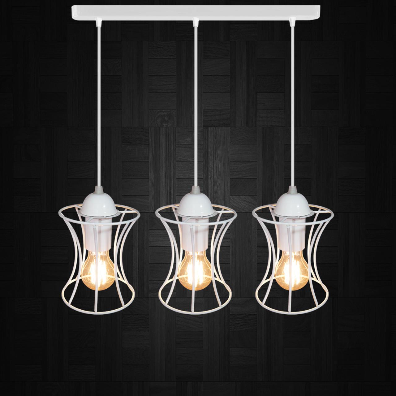 """Подвесной металлический светильник, современный стиль """"SANDBOX-3W"""" Е27  белый цвет"""