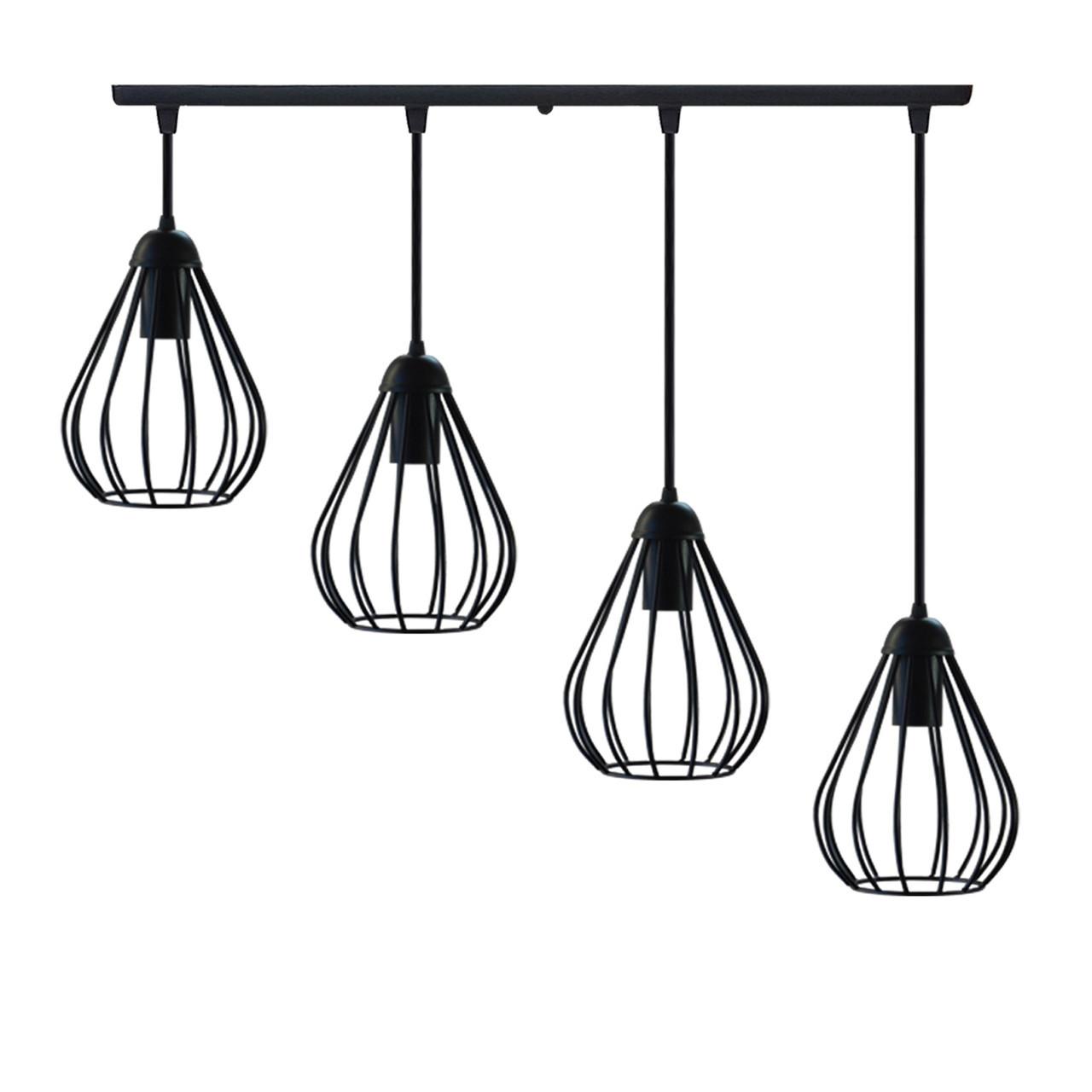 """Подвесной металлический светильник, современный стиль """"KAPLIA-4"""" Е27  черный цвет"""