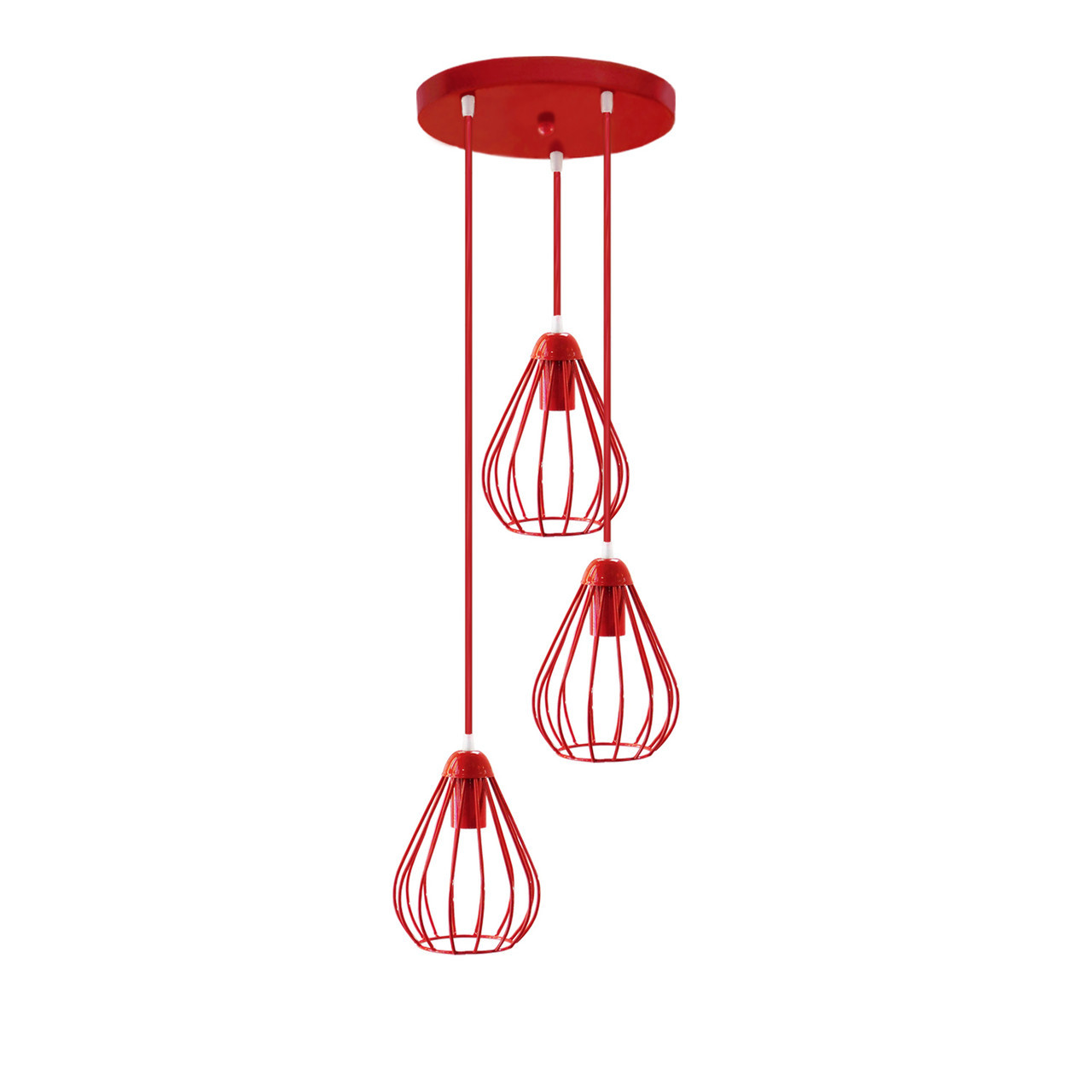 """Подвесной металлический светильник, современный стиль """"KAPLY-3GR"""" Е27  красный цвет"""