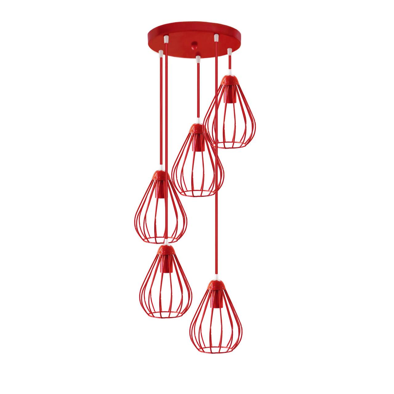 """Подвесной металлический светильник, современный стиль """"KAPLY-5GR"""" Е27  красный цвет"""