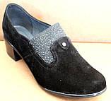 Туфли черные женские большого размера на полную ногу от производителя модель БД8КВ, фото 7
