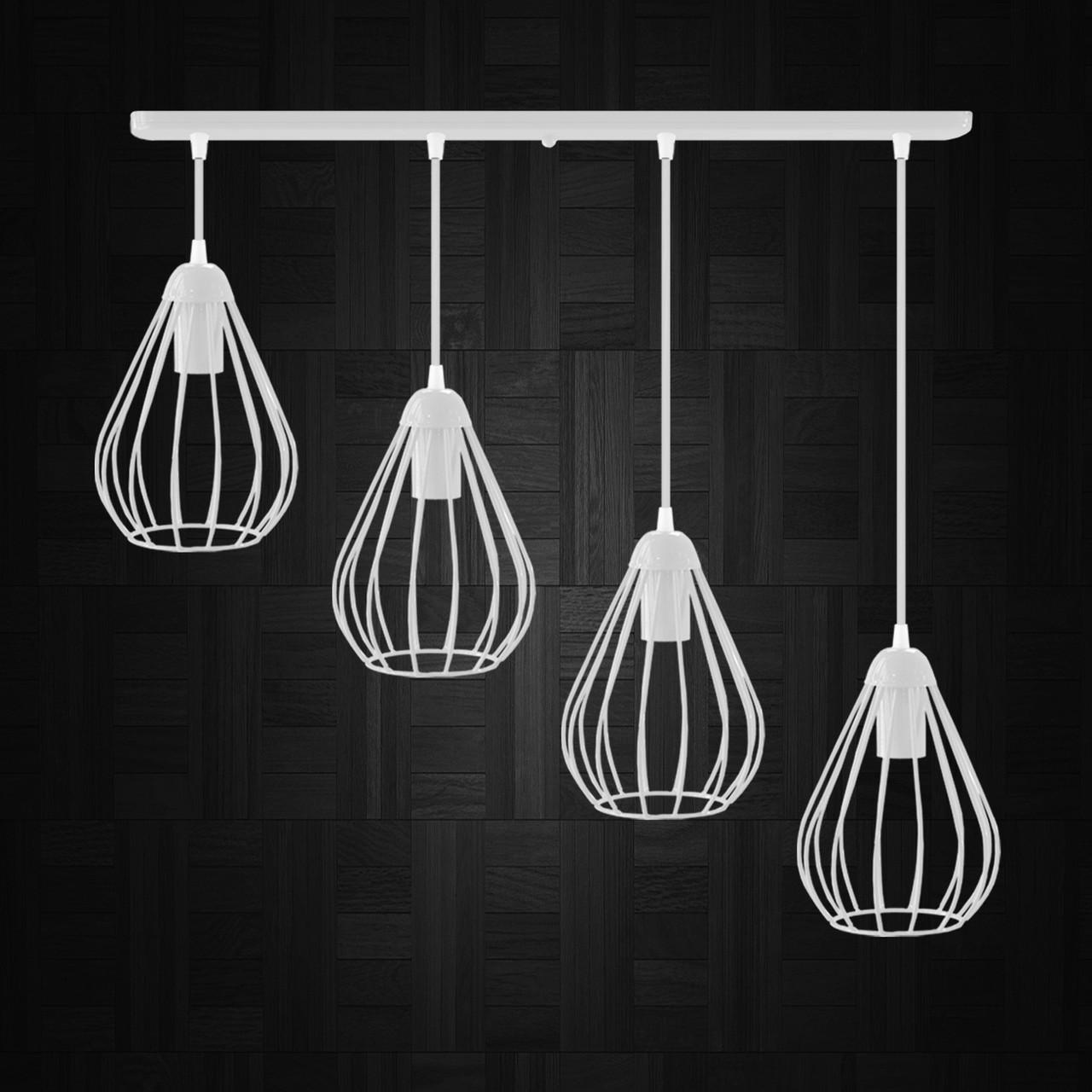 """Подвесной металлический светильник, современный стиль """"KAPLIA-4W"""" Е27  белый цвет"""