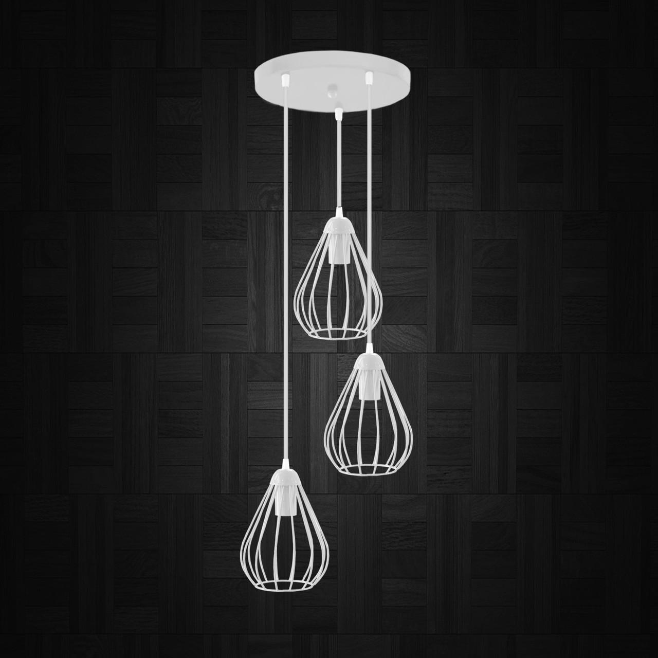 """Подвесной металлический светильник, современный стиль """"KAPLY-3GW"""" Е27  белый цвет"""