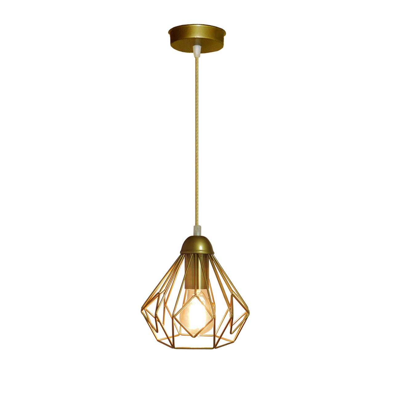 """Подвесной металлический светильник, современный стиль """"SKRAB-G"""" Е27 цвет золото"""