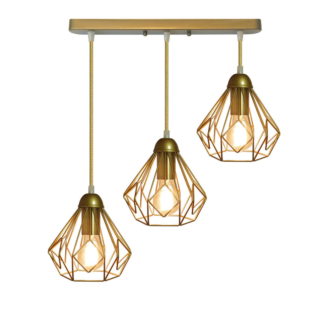 """Подвесной металлический светильник, современный стиль """"SKRAB-3G"""" Е27  золотистый цвет"""