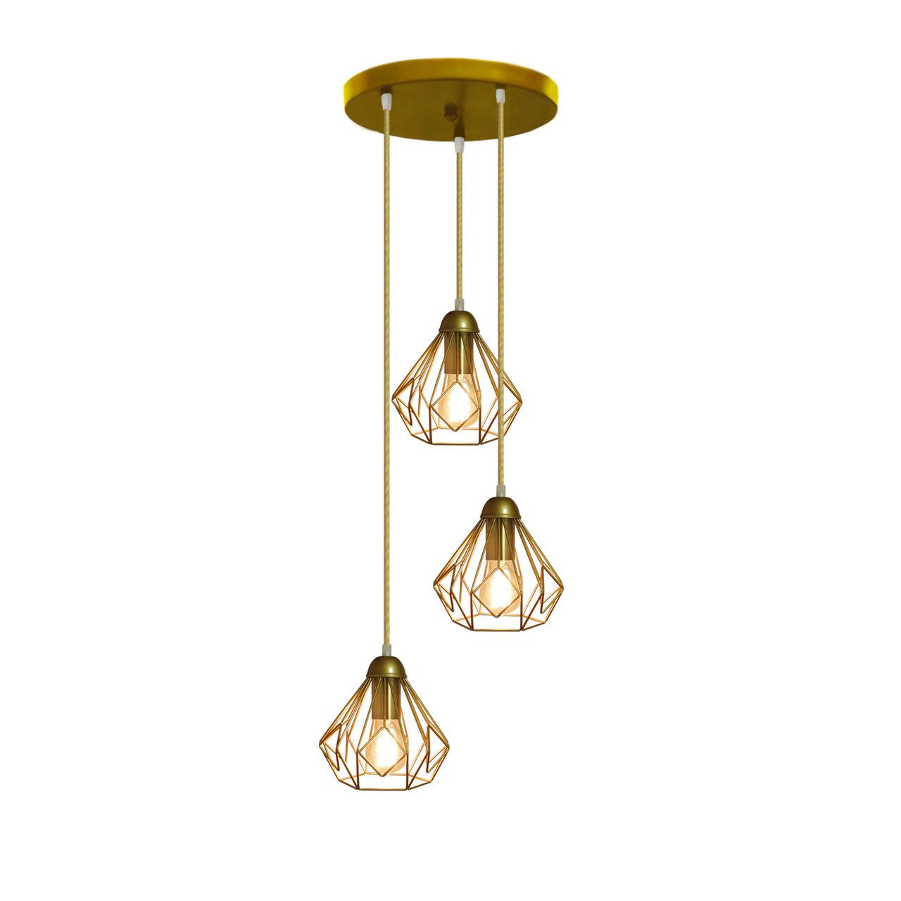 """Подвесной металлический светильник, современный стиль """"SKRAB-3GG"""" Е27  золотистый цвет"""