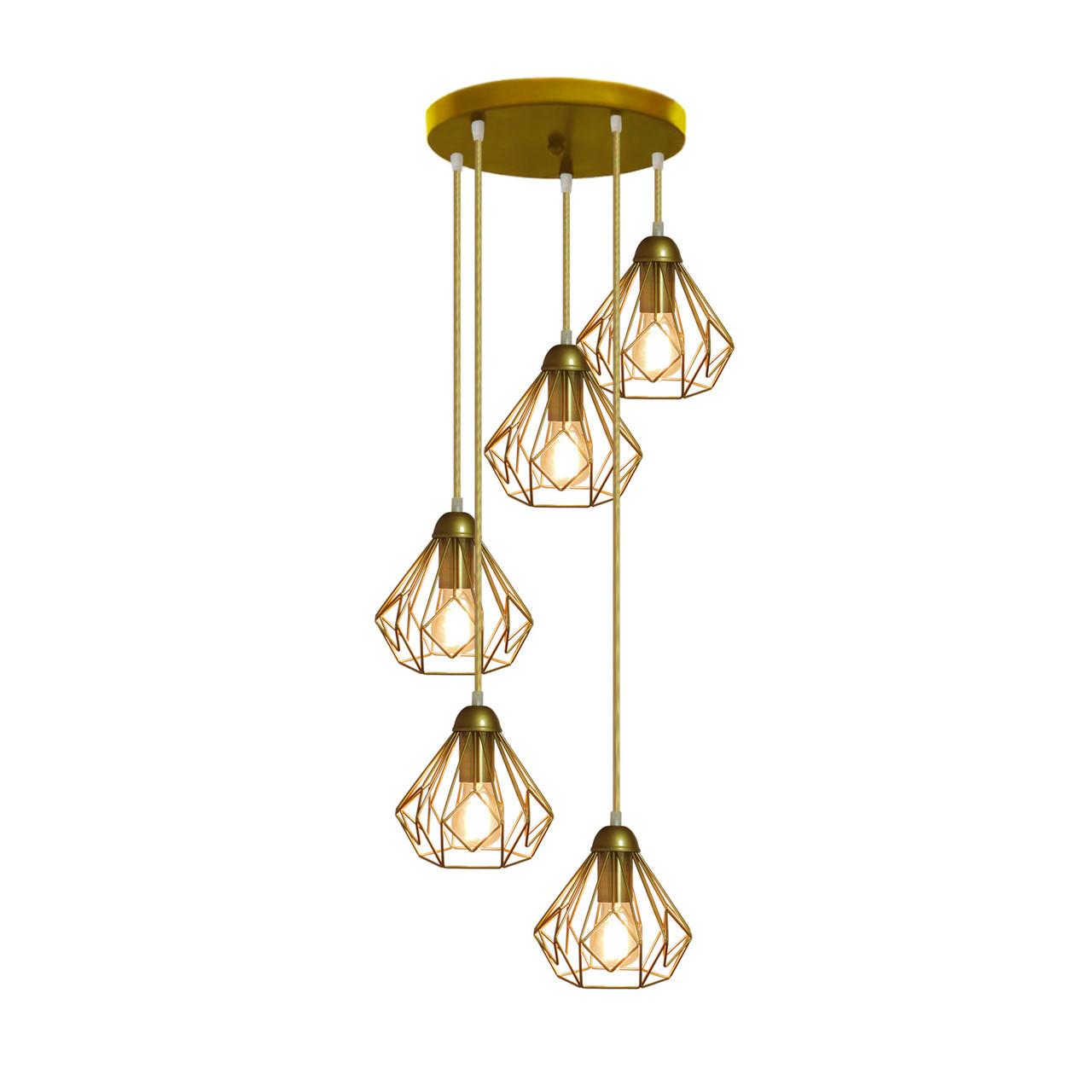 """Подвесной металлический светильник, современный стиль """"SKRAB-5GG"""" Е27  золотистый цвет"""
