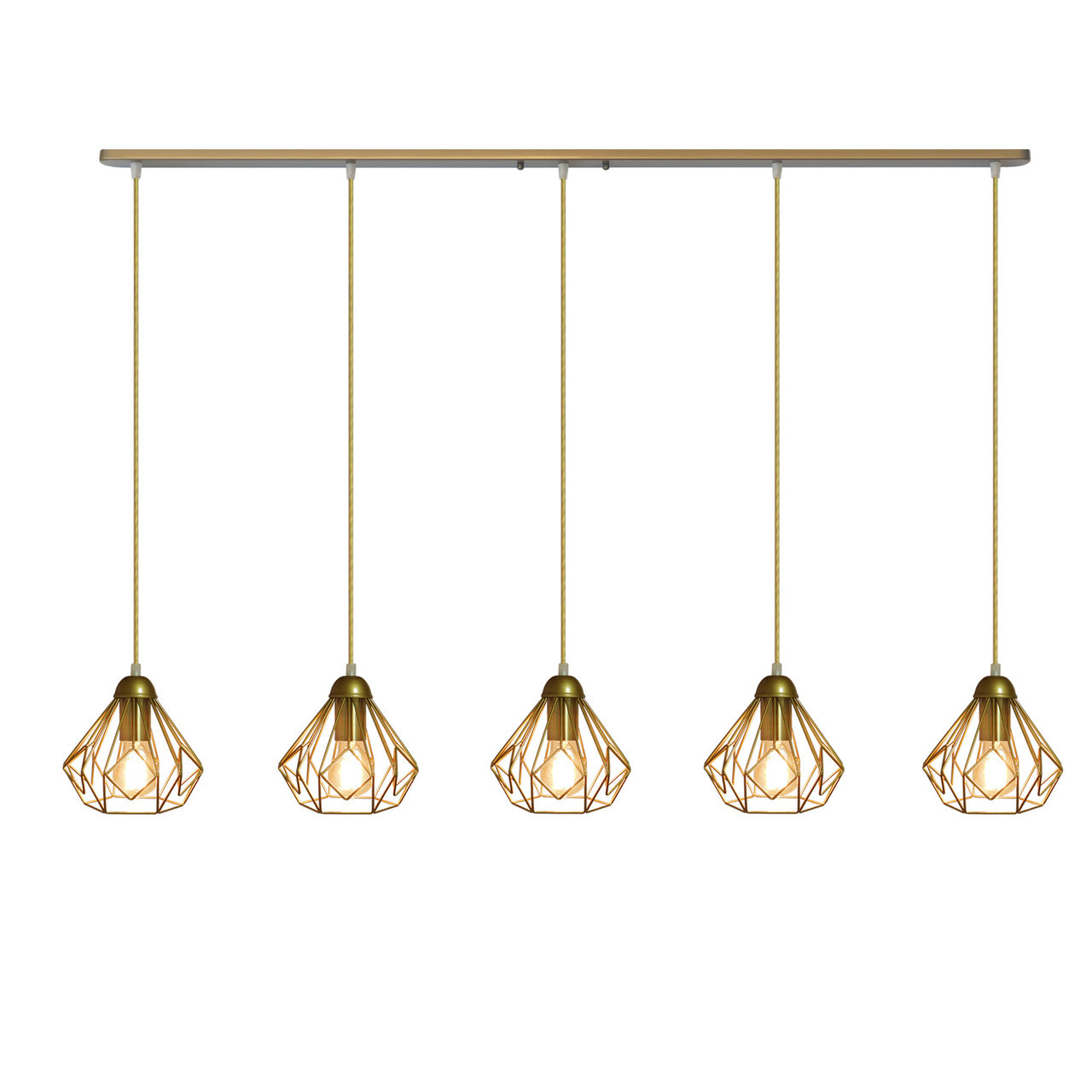 """Подвесной металлический светильник, современный стиль """"SKRAB-5G"""" Е27  золотистый цвет"""