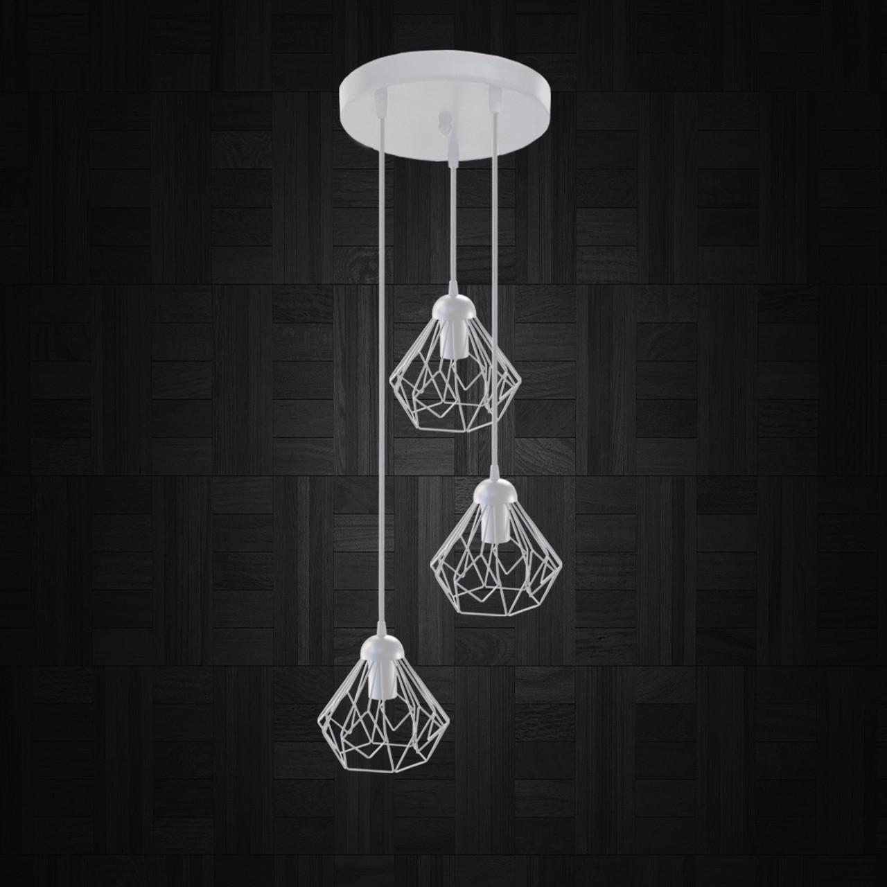 """Подвесной металлический светильник, современный стиль """"SKRAB-3GW"""" Е27  белый цвет"""