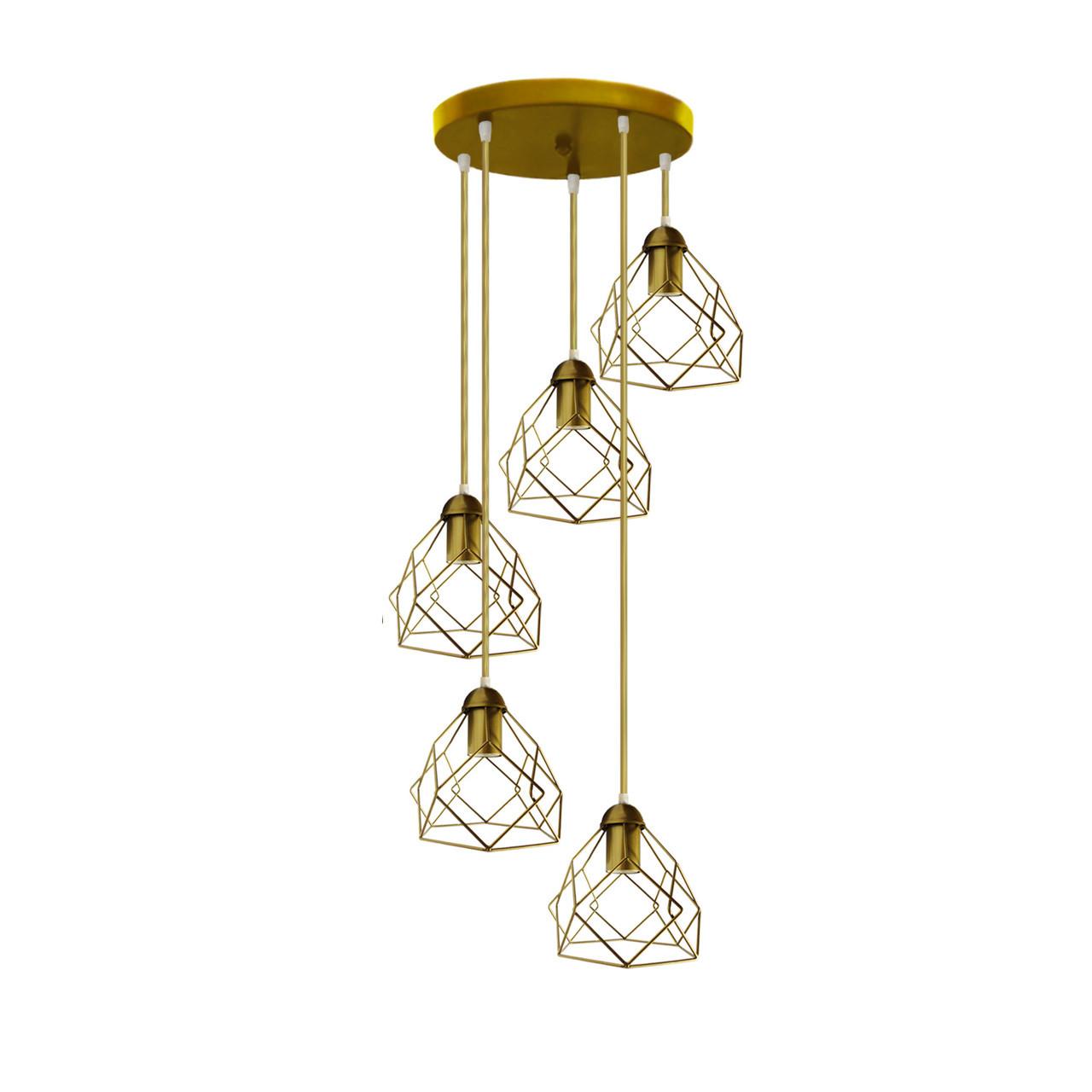 """Подвесной металлический светильник, современный стиль """"RUBY-5GG"""" Е27  золотой цвет"""