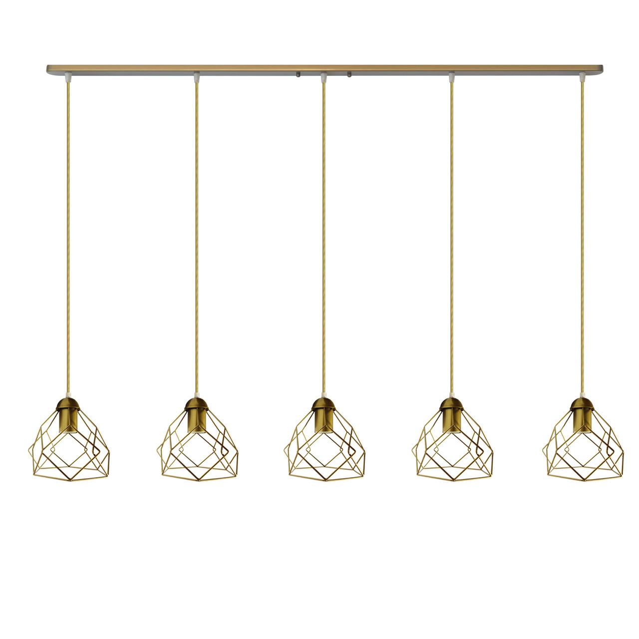 """Подвесной металлический светильник, современный стиль """"RUBY-5G"""" Е27  золотой цвет"""