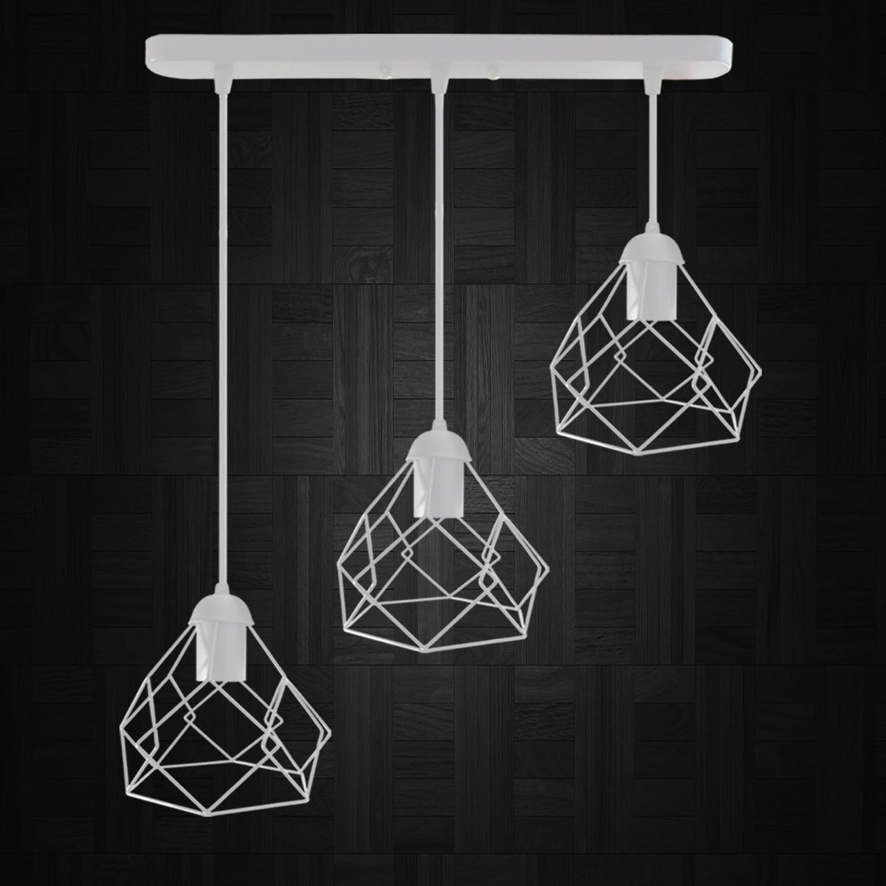 """Подвесной металлический светильник, современный стиль """"RUBY-3W"""" Е27  белый цвет"""