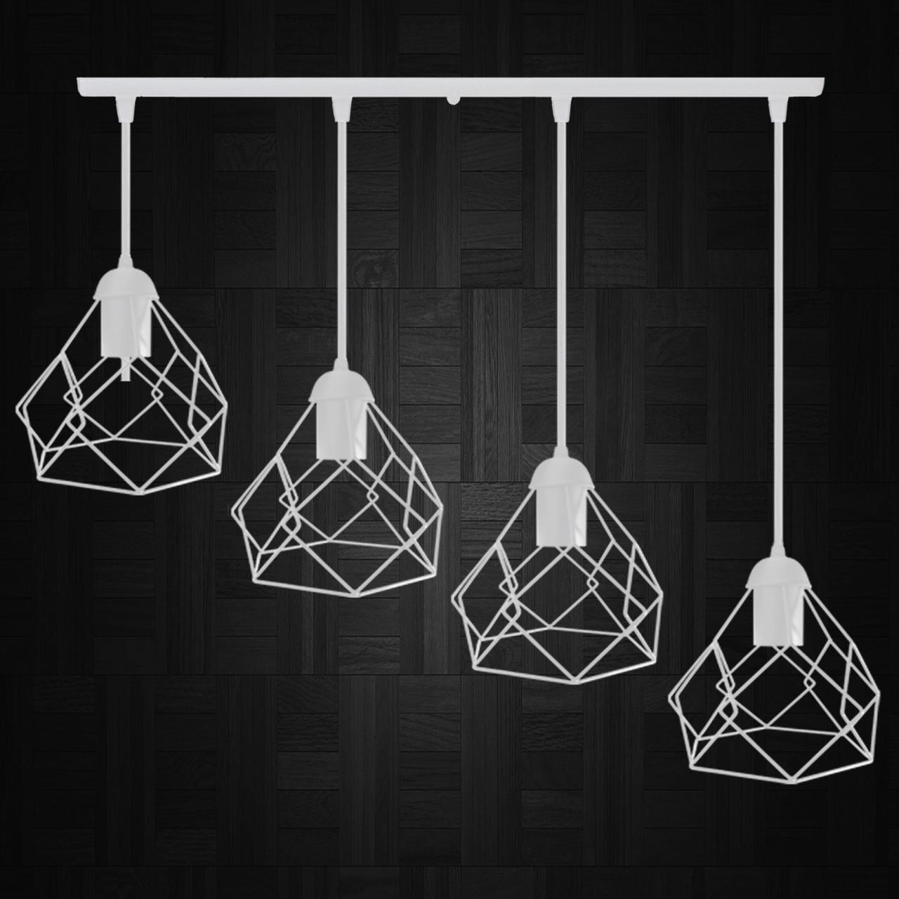 """Подвесной металлический светильник, современный стиль  """"RUBY-4W"""" Е27  белый цвет"""