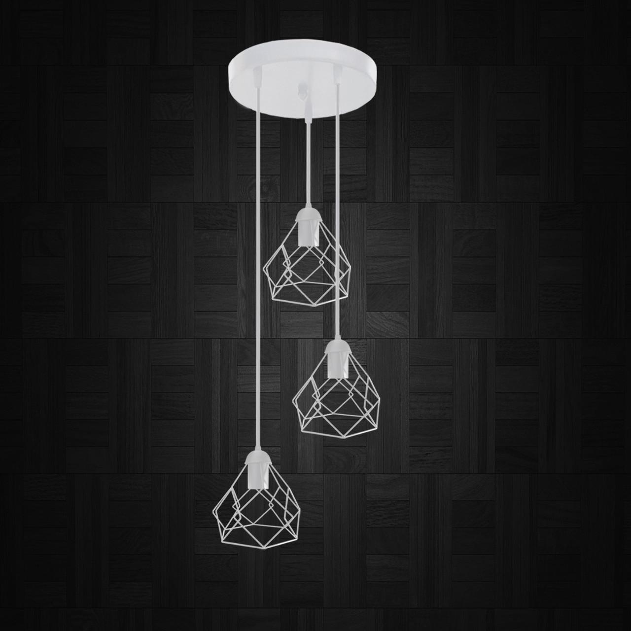 """Подвесной металлический светильник, современный стиль """"RUBY-3GW"""" Е27  белый цвет"""