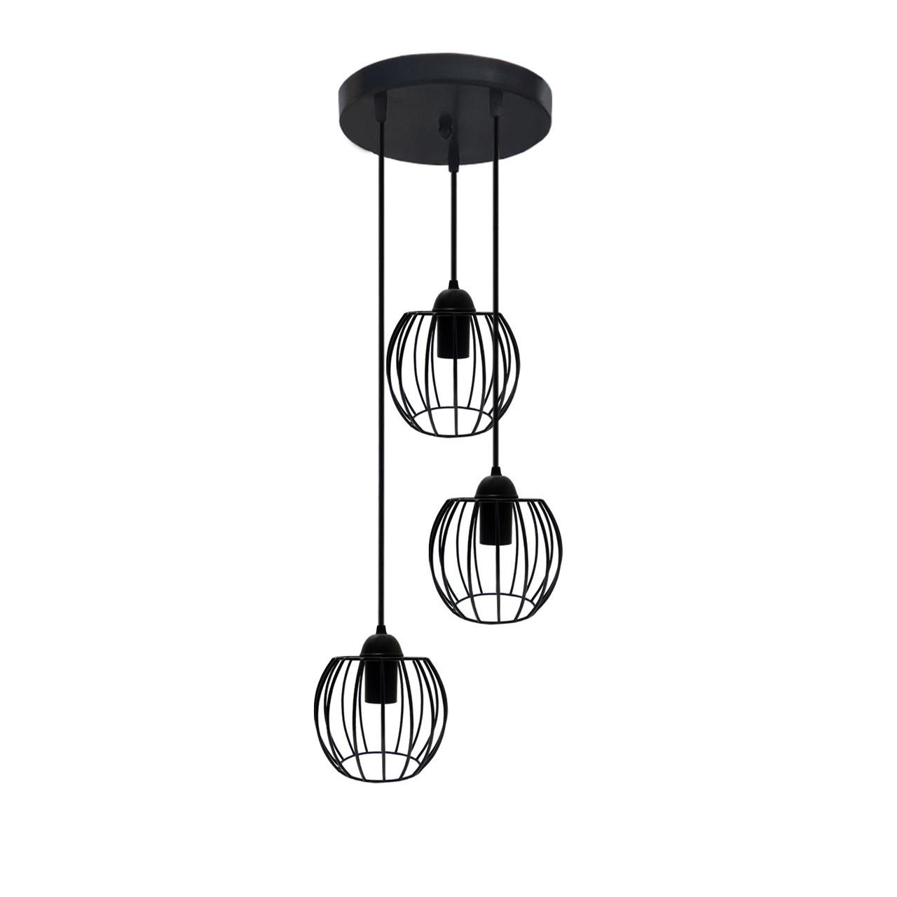 """Подвесной металлический светильник, современный стиль """"BARREL-3GB"""" Е27  черный цвет"""