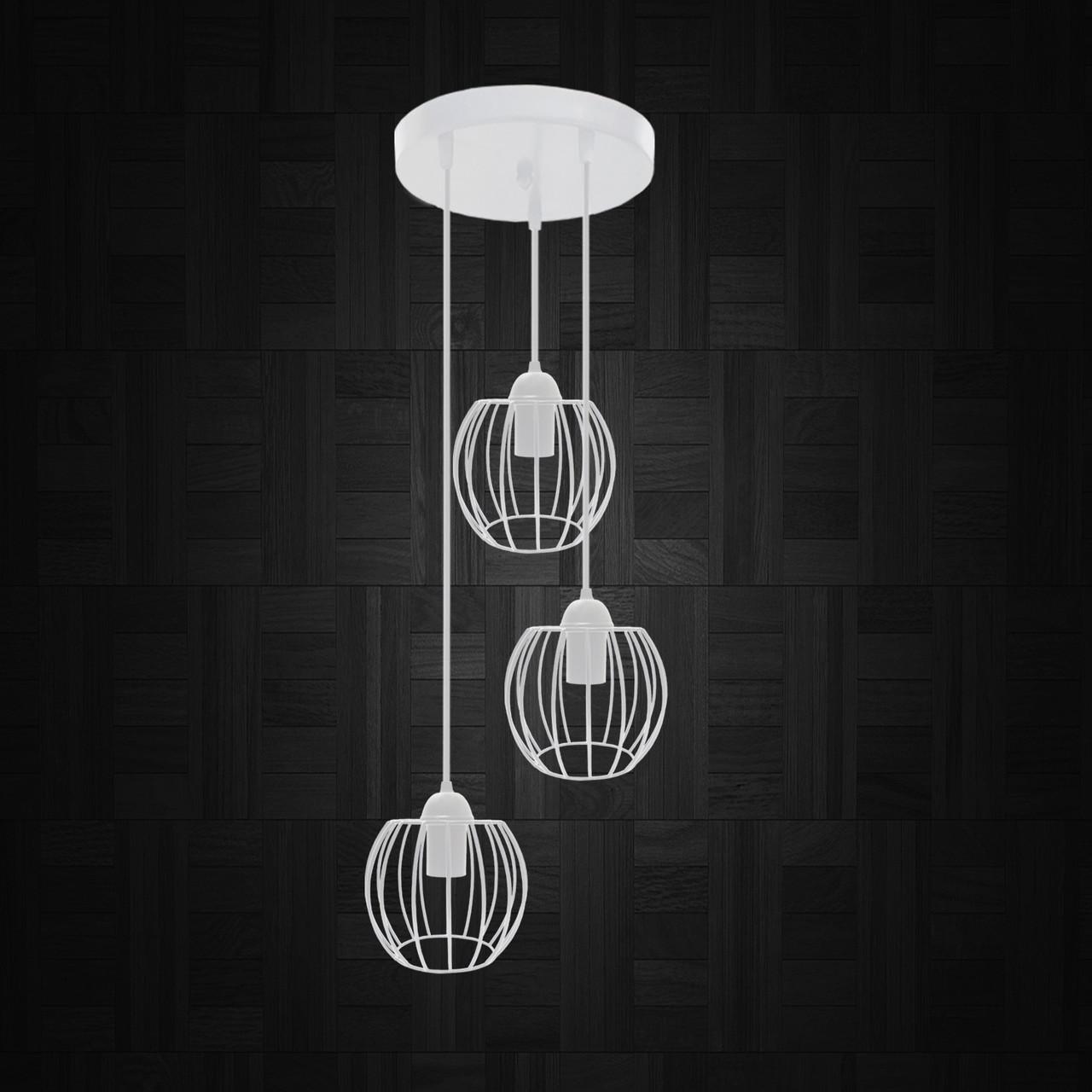 """Подвесной металлический светильник, современный стиль """"BARREL-3GW"""" Е27  белый цвет"""
