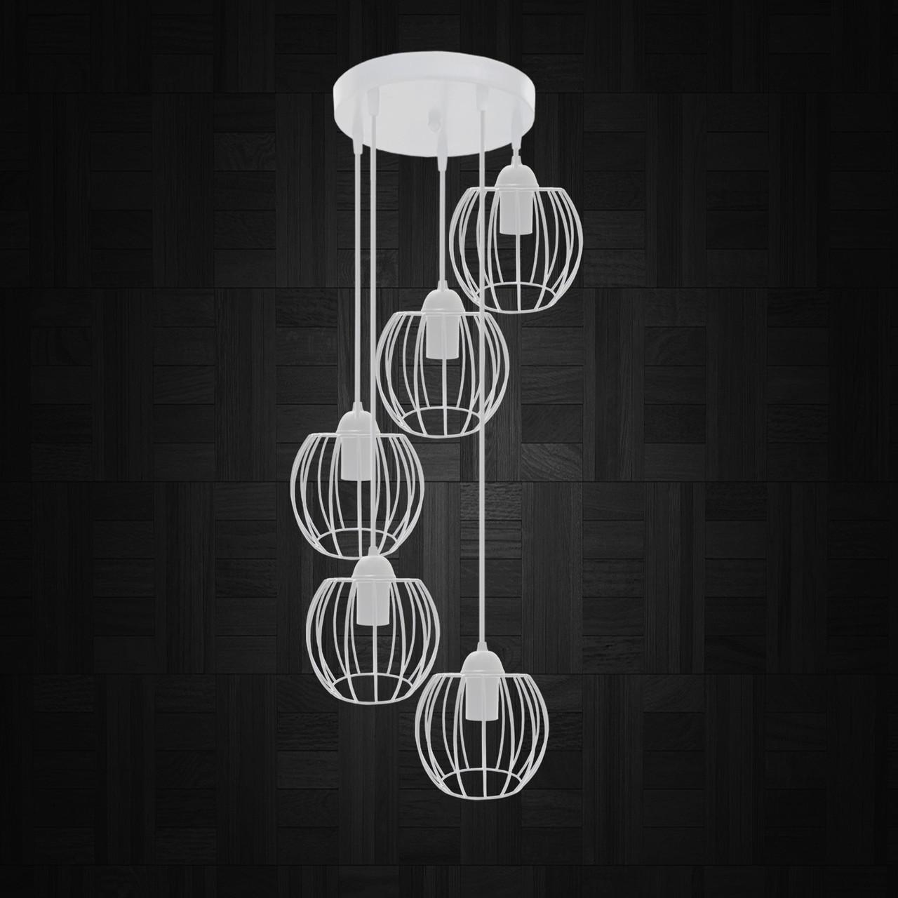 """Подвесной металлический светильник, современный стиль """"BARREL-5GW"""" Е27  белый цвет"""