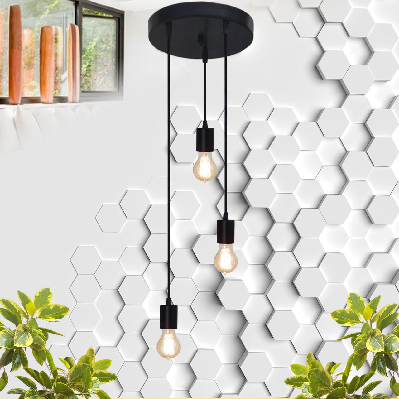 """Подвесной металлический светильник, современный стиль минимализм """"CEILING-3"""" Е27 черный цвет"""