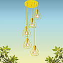 """Подвесной металлический светильник, современный стиль, loft, vintage, modern style """"RUBY-5GЕ"""" Е27  желтый цвет, фото 2"""