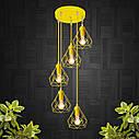 """Подвесной металлический светильник, современный стиль, loft, vintage, modern style """"RUBY-5GЕ"""" Е27  желтый цвет, фото 3"""