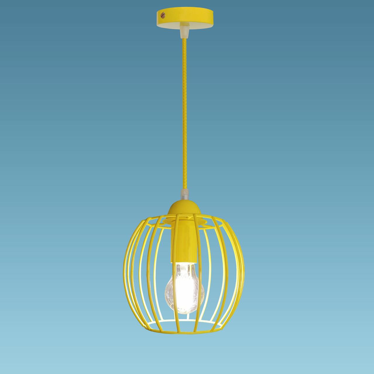 """Подвесной металлический светильник, современный стиль """"BARREL-E"""" Е27  желтый цвет"""