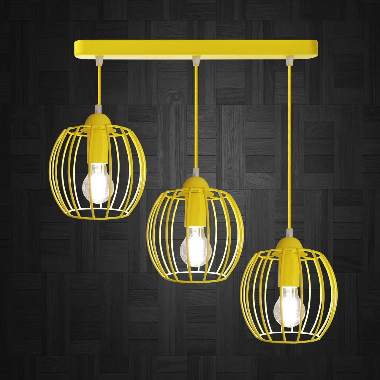 """Подвесной металлический светильник, современный стиль """"BARREL-3Е"""" Е27  желтый цвет"""