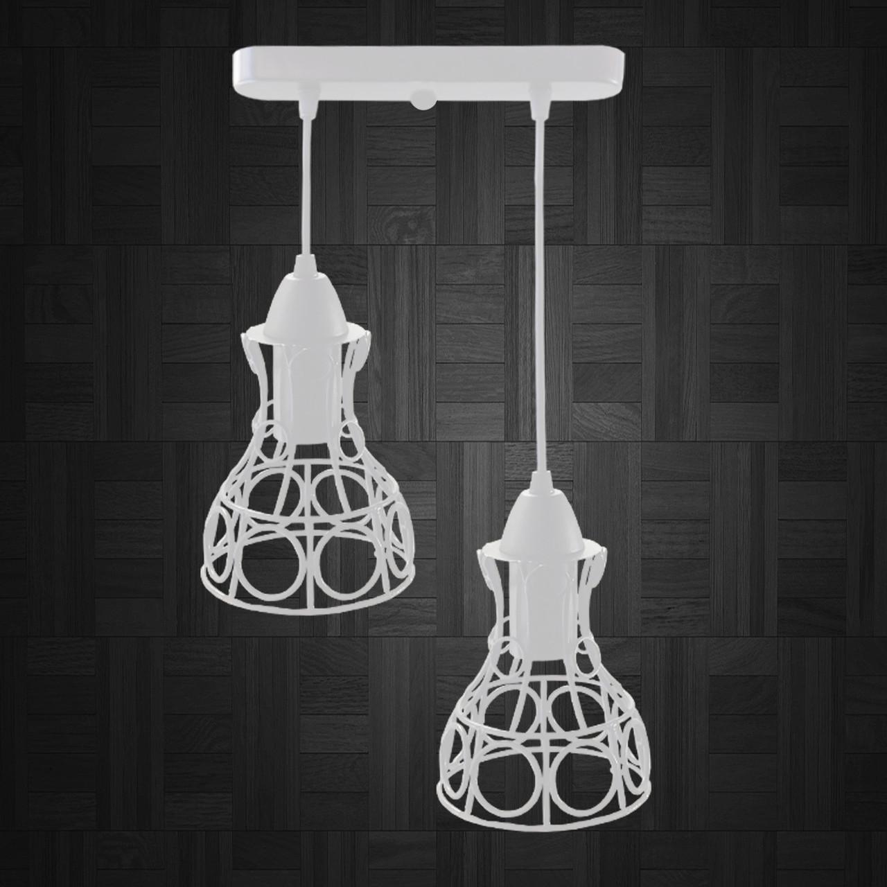 """Подвесной металлический светильник, современный стиль, loft, vintage, modern style """"RINGS-2W"""" Е27  белый"""