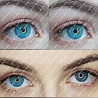 """Голубые линзы """"Айс Софт  Блу""""  на светлых глазах"""