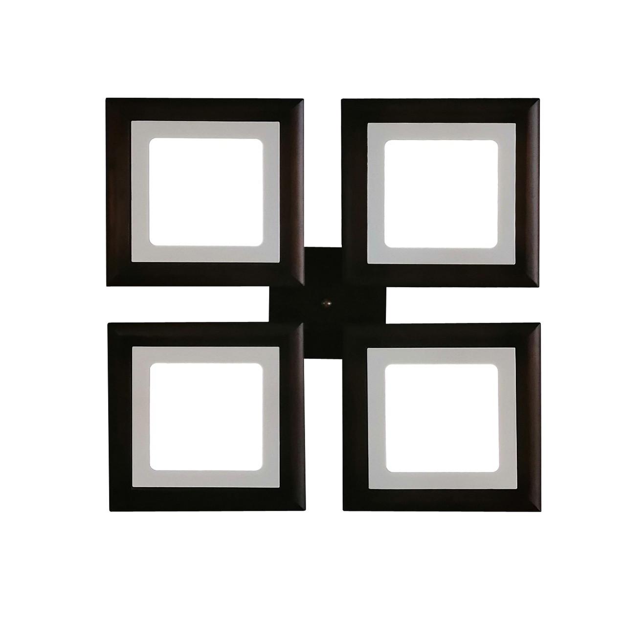 Потолочный светильник из дерева, квадратная форма, на 4 led панели  по 12 Вт. цвет темное дерево