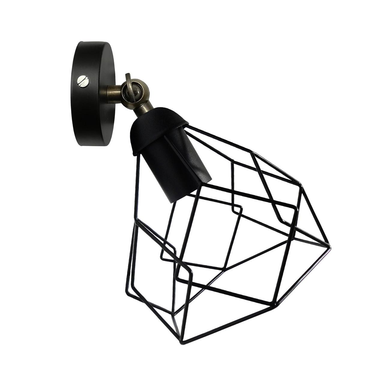 """Настенный светильник / бра лофт / потолочная лампа / на одну лампу / индустриальный стиль / """"RUBY/LS"""" черный"""