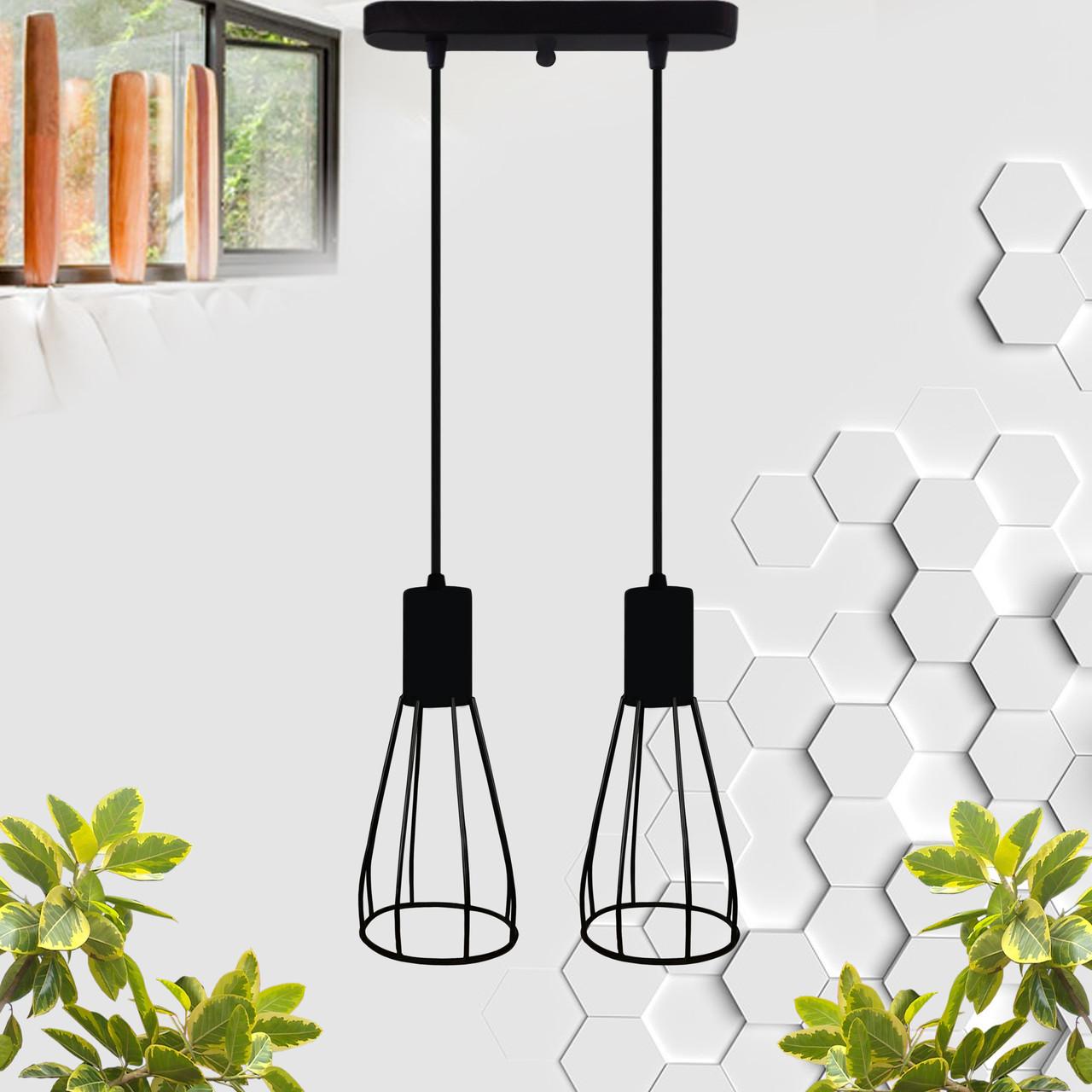 """Подвесной металлический светильник, современный индустриальный стиль """"CARAT-2"""" Е27  черный цвет"""