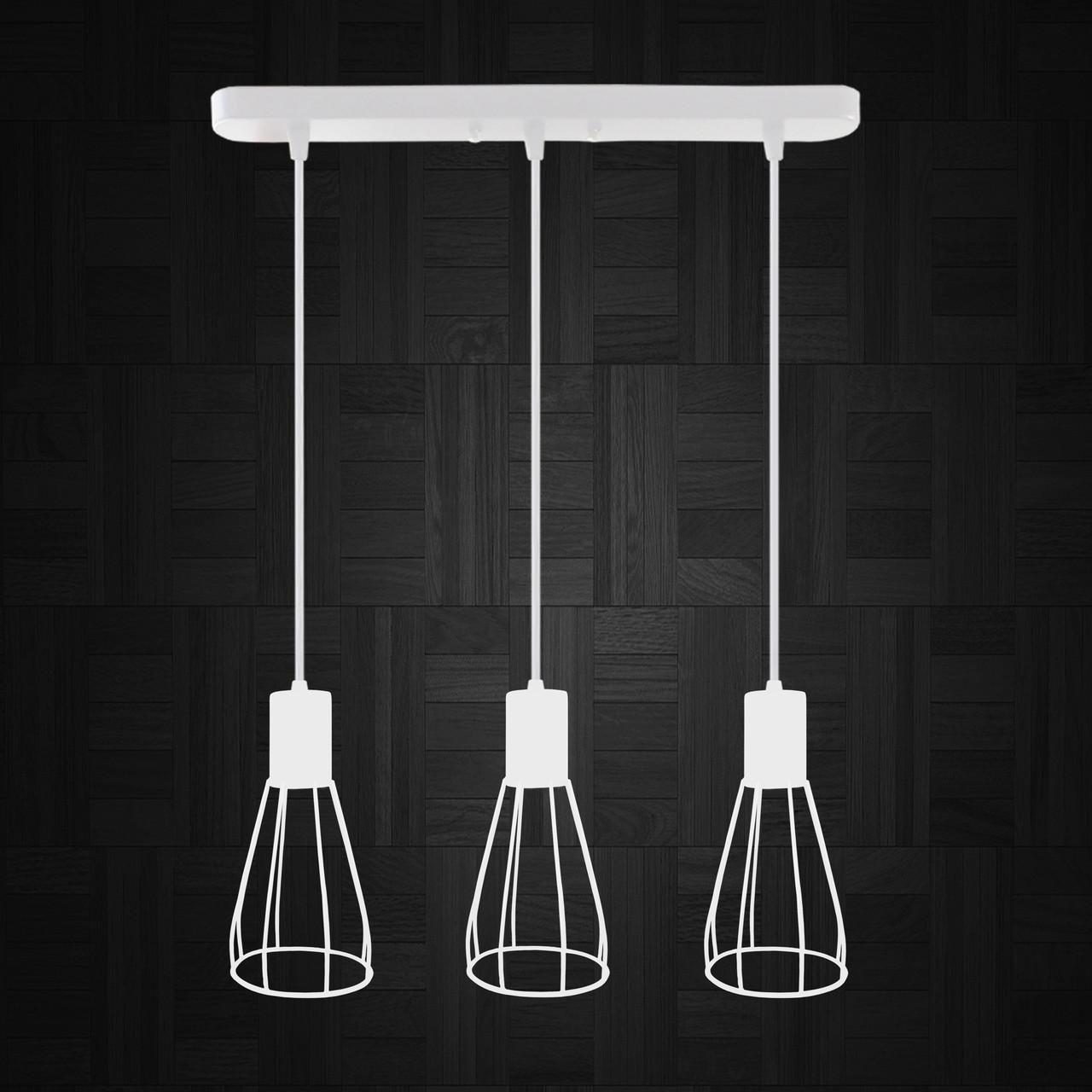 """Подвесной металлический светильник, современный индустриальный стиль """"CARAT-3W"""" Е27  белый цвет"""