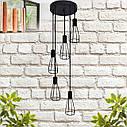 """Подвесной металлический светильник, современный индустриальный стиль """"CARAT-5G"""" Е27  черный цвет, фото 2"""