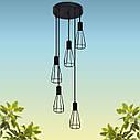 """Подвесной металлический светильник, современный индустриальный стиль """"CARAT-5G"""" Е27  черный цвет, фото 3"""