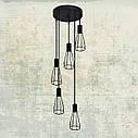 """Подвесной металлический светильник, современный индустриальный стиль """"CARAT-5G"""" Е27  черный цвет, фото 4"""