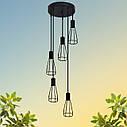 """Подвесной металлический светильник, современный индустриальный стиль """"CARAT-5G"""" Е27  черный цвет, фото 6"""