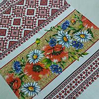 Готовое хлопковое полотенце с маками, ромашками и васильками 45х70 см, фото 1