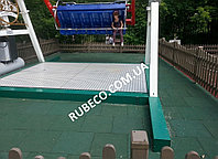 Покрытие вокруг песочницы. Резиновая плитка зеленая 20мм . Резиновые плиты 20мм