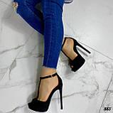 Босоножки женские черные на каблуке 13 см эко- замш закрытая пятка, фото 5