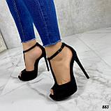 Босоножки женские черные на каблуке 13 см эко- замш закрытая пятка, фото 6