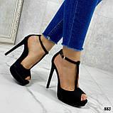 Босоножки женские черные на каблуке 13 см эко- замш закрытая пятка, фото 7