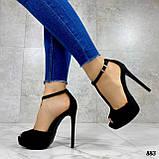 Босоножки женские черные на каблуке 13 см эко- замш закрытая пятка, фото 8