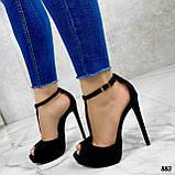 Босоножки женские черные на каблуке 13 см эко- замш закрытая пятка, фото 4