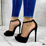 Босоножки женские черные на каблуке 13 см эко- замш закрытая пятка, фото 2
