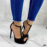 Босоножки женские черные на каблуке 13 см эко- замш закрытая пятка, фото 9
