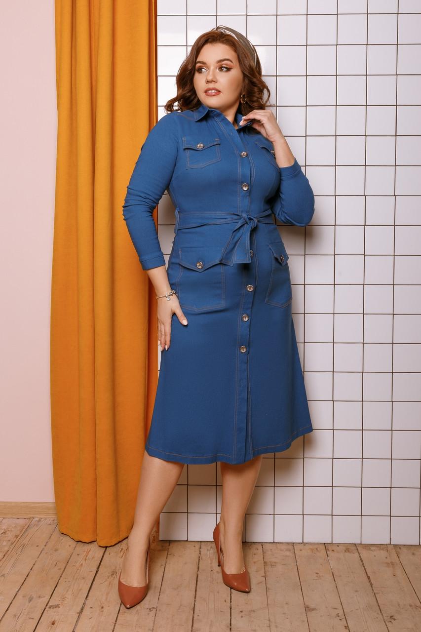 Женское джинсовое платье большого размера.Размеры:48-58.+Цвета